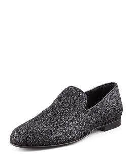 Jimmy Choo Sloane Glitter Slipper, Black