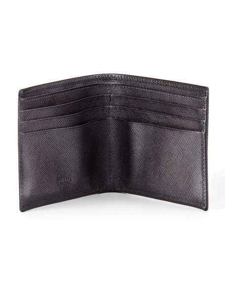 Corner Logo Hip-Fold Wallet, Black