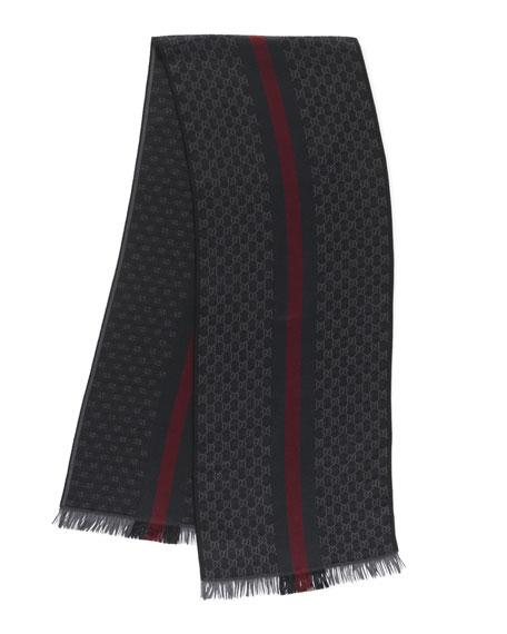 GG Jacquard Knit Scarf with Web & Fringe