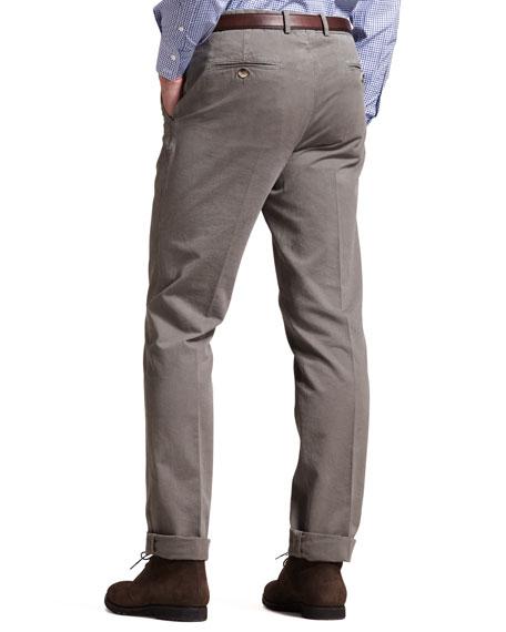 Basic Flat-Front Pants, Chestnut