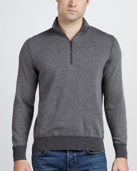 Roadster Half-Zip Cashmere Sweater, Licorice Melange