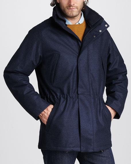 Check-Lined Drawstring Jacket