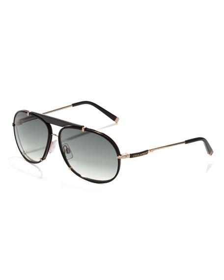 Leather Navigator Sunglasses, Black
