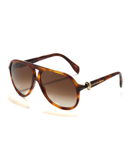 Skull-Temple Aviator Sunglasses, Havana