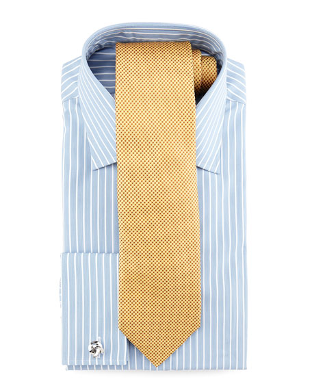 Striped French-Cuff Dress Shirt, Blue/White