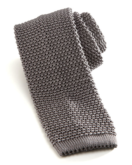 Knit Silk Tie, Gray