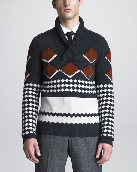 Patterned Shawl-Collar Sweater