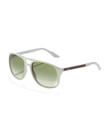Web-Arm Enamel Aviator Sunglasses, White