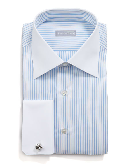 Contrast Collar Striped Button-Down Shirt, Blue/White