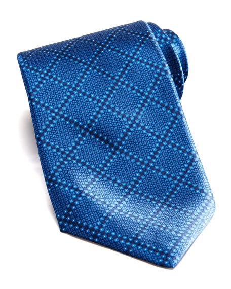 Tonal Grid Silk Tie, Blue