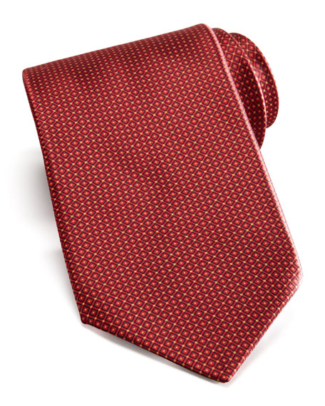 Grid Silk Tie, Red
