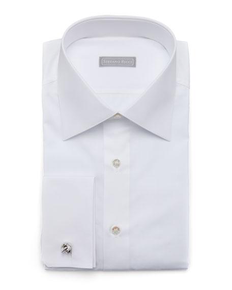 Stefano Ricci Basic French-Cuff Dress Shirt, White