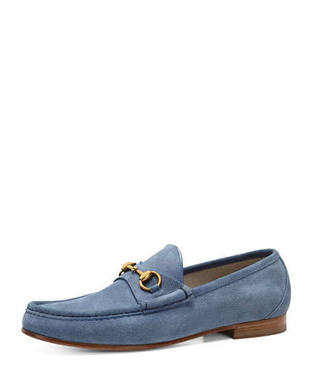 Roos Suede Bit Loafer, Sky Blue