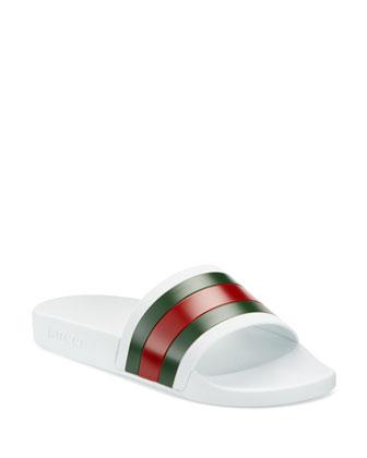 Gucci Pursuit 72 Rubber Slide Sandal White