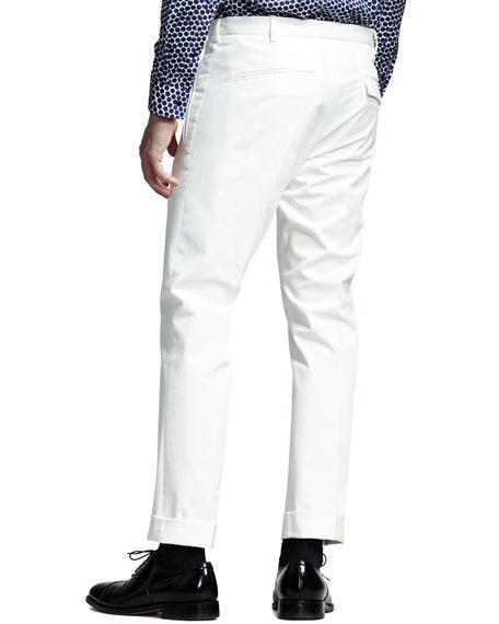 Slim Cotton Pants, White