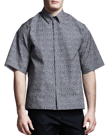 Hexagon-Print Short-Sleeve Shirt