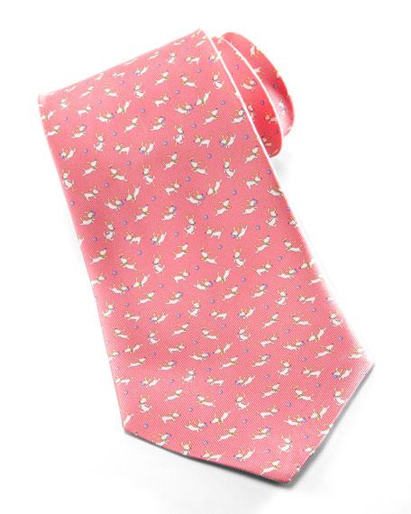 Scottie Dog with Ball Silk Tie, Pink