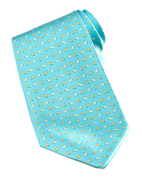 Butterfly/Clover Silk Tie, Turquoise