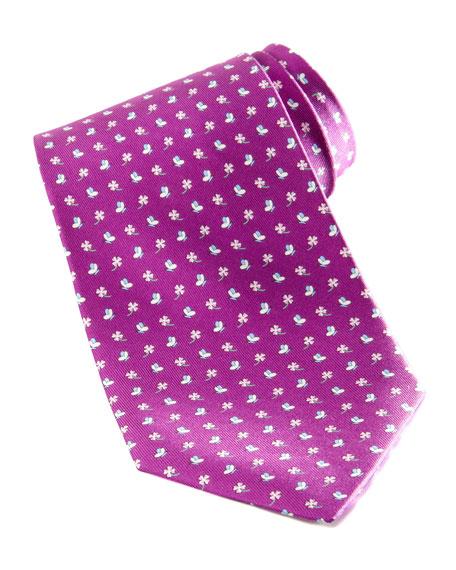 Butterfly/Clover Silk Tie, Purple