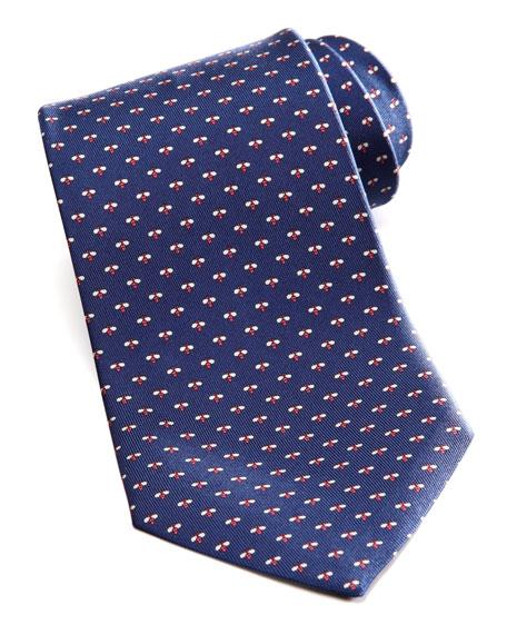 Micro-Bee Silk Tie, Navy