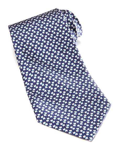 Mini-Schnauzer Silk Tie, Navy