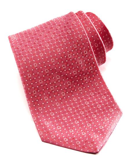 Gancini/Dot Silk Tie, Coral