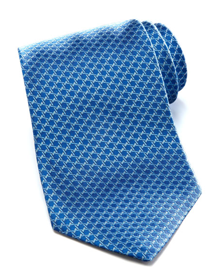 Geometric Silk Tie, Blue