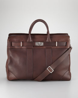 Brunello Cucinelli Turn-Lock Leather Briefcase