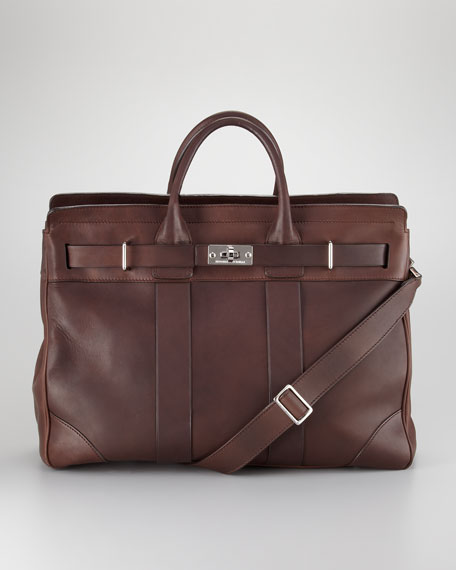 Turn-Lock Leather Briefcase