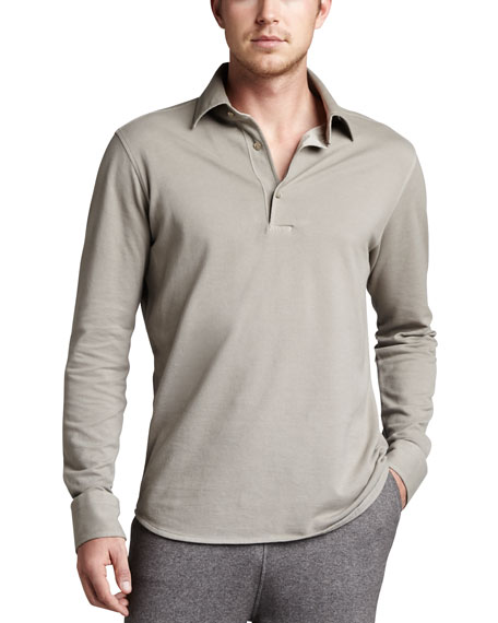 Long-Sleeve Pique Polo, White Swan