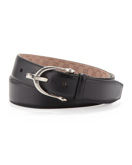 Stirrup-Buckle Leather Belt, Black