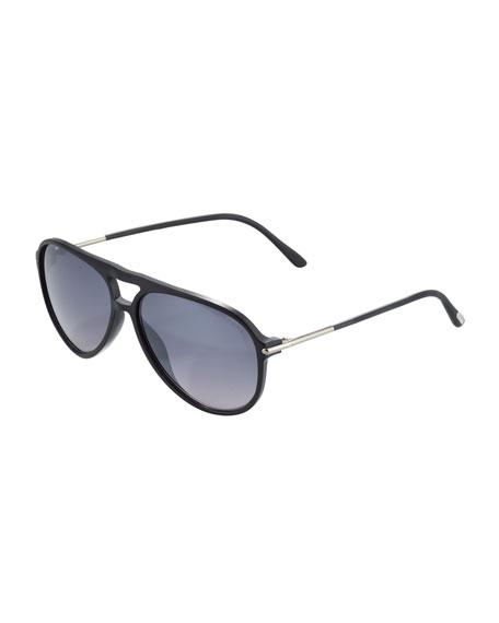 Matteo Plastic Aviator Sunglasses, Matte Black