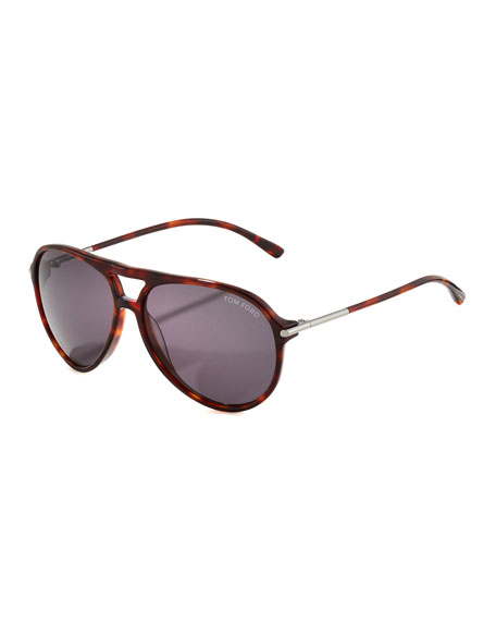 Matteo Plastic Aviator Sunglasses, Red Havana