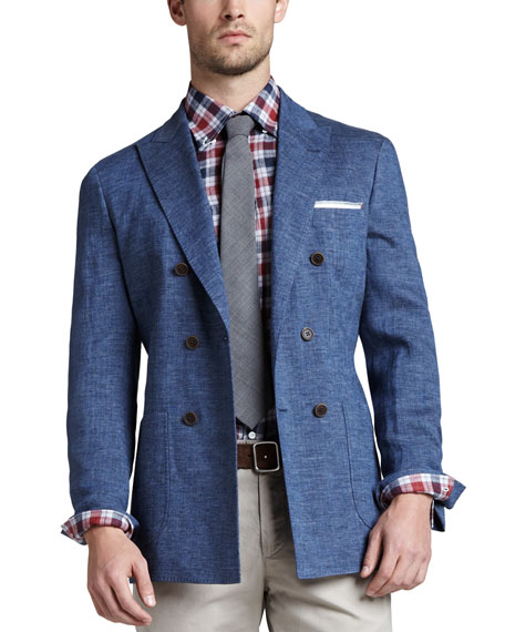 Double-Breasted Linen Jacket