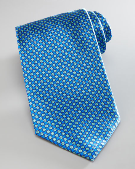 Square-Pattern Silk Tie, Blue