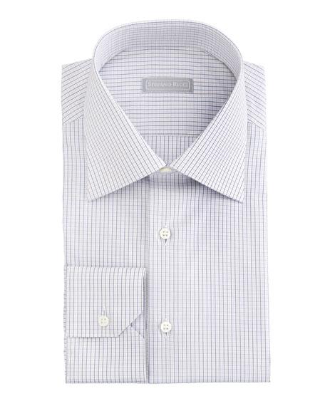 Micro-Check Dress Shirt, Blue/Yellow