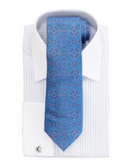 Contrast-Collar Striped Dress Shirt, White/Lavender