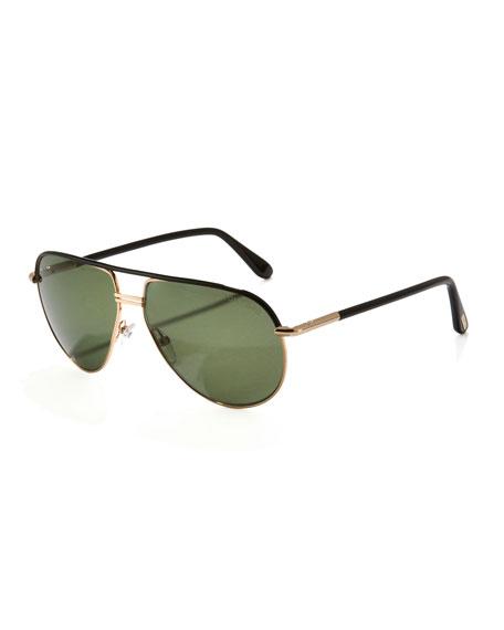 Cole Metal Aviator Sunglasses, Shiny Black