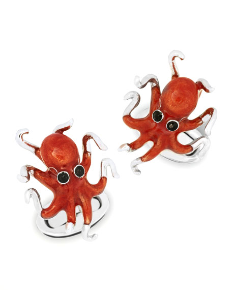 Octopus Cuff Links, Orange
