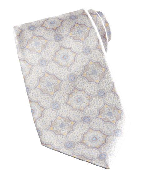 Medallion Silk Tie, Tan