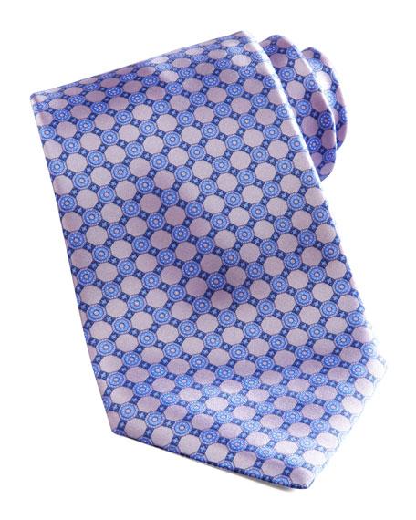 Floral-Grid Silk Tie, Lavender/Blue