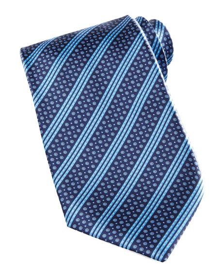 Neat-Stripe Tie, Blue