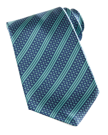 Neat-Stripe Tie, Navy/Green
