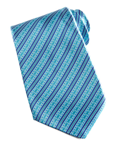 Dot-Stripe Silk Tie, Teal