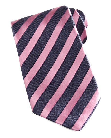 Wide-Stripe Silk Tie, Navy/Pink
