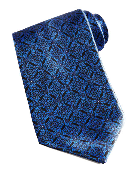 Medallion-Grid Silk Tie, Black/Blue