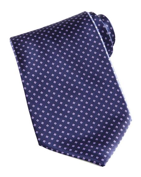 Mini-Flower Silk Tie, Navy