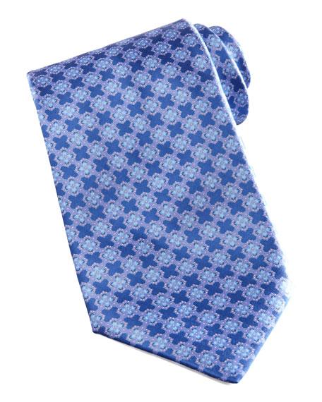 Medallion-Grid Silk Tie, Blue