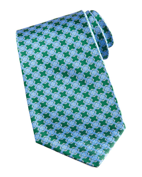 Chain-Link Medallion Tie, Green