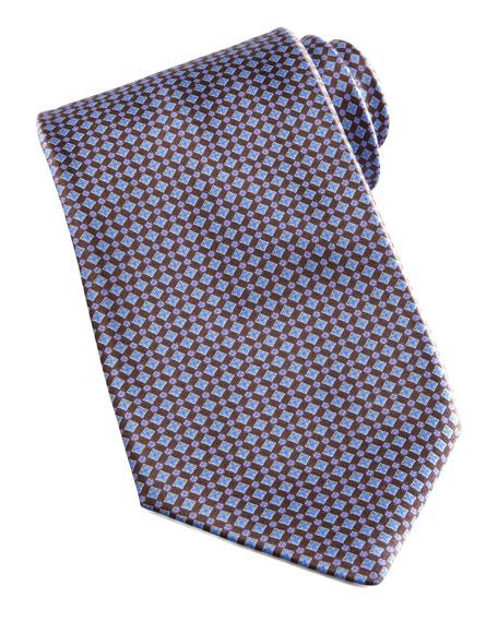 Mini-Grid Silk Tie, Brown/Blue